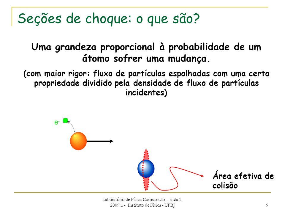 Laboratório de Física Corpuscular - aula 1- 2009.1 - Instituto de Física - UFRJ 6 Seções de choque: o que são? Uma grandeza proporcional à probabilida