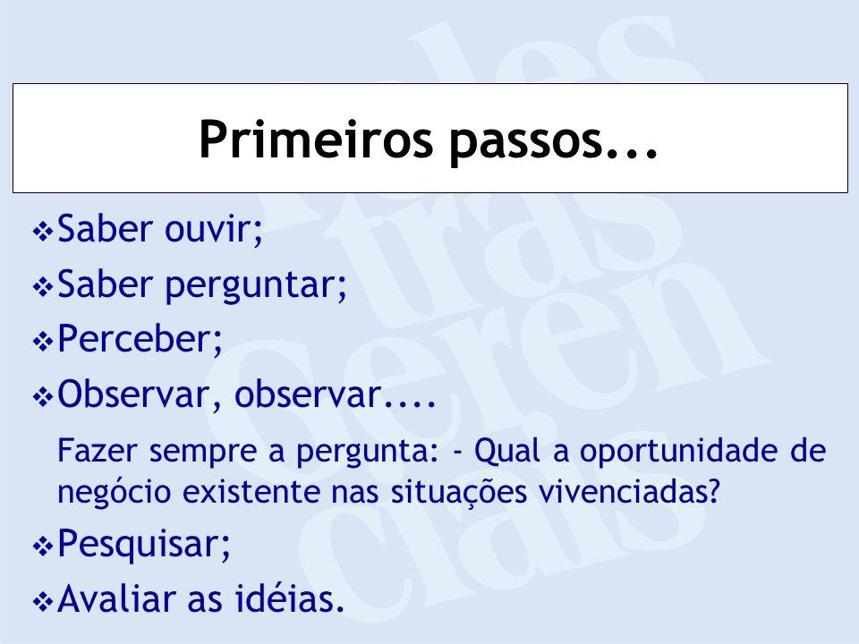Primeiros passos... Saber ouvir; Saber perguntar; Perceber; Observar, observar....