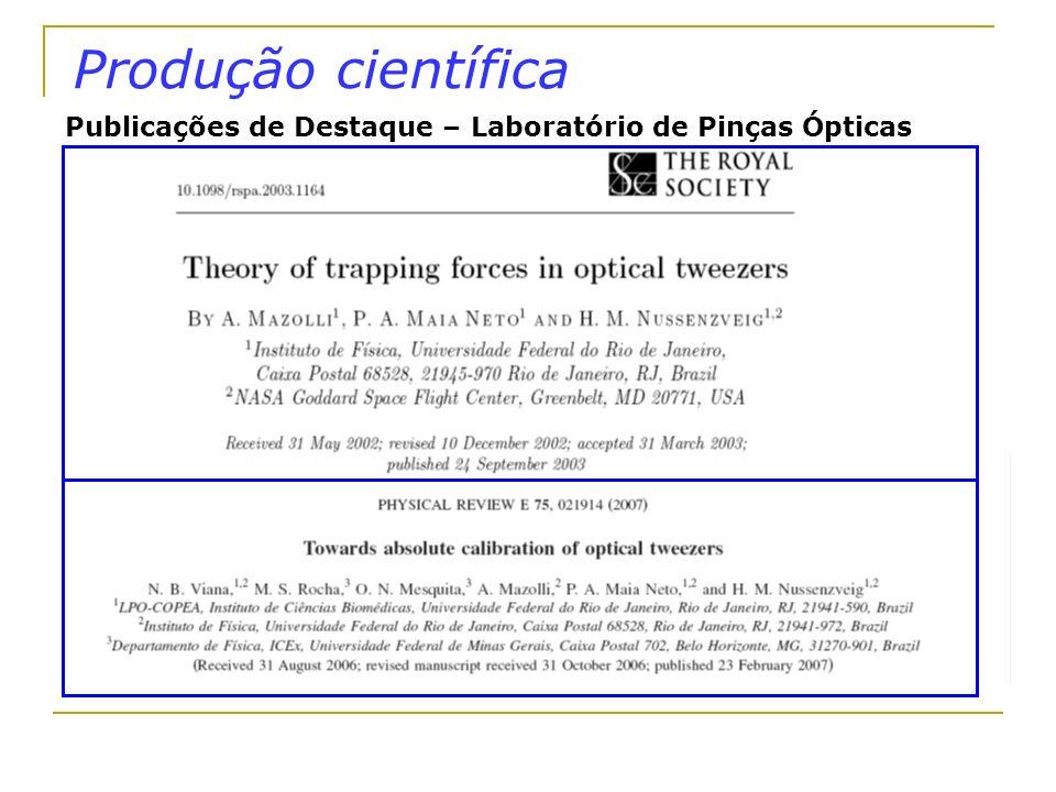 Produção científica Publicações de Destaque – Laboratório de Pinças Ópticas