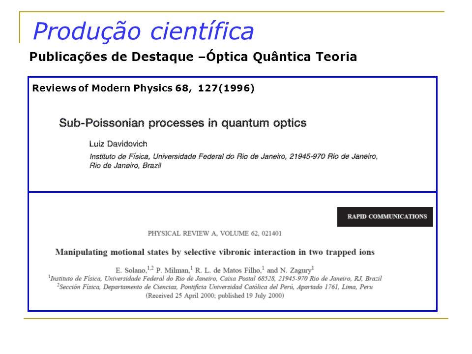Produção científica Publicações de Destaque –Óptica Quântica Teoria Reviews of Modern Physics 68, 127(1996)