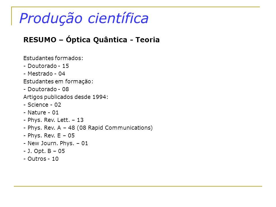Produção científica RESUMO – Óptica Quântica - Teoria Estudantes formados: - Doutorado - 15 - Mestrado - 04 Estudantes em formação: - Doutorado - 08 A