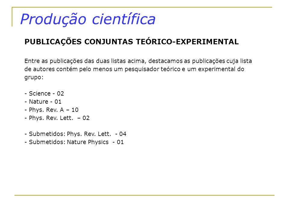 Produção científica PUBLICAÇÕES CONJUNTAS TEÓRICO-EXPERIMENTAL Entre as publicações das duas listas acima, destacamos as publicações cuja lista de aut