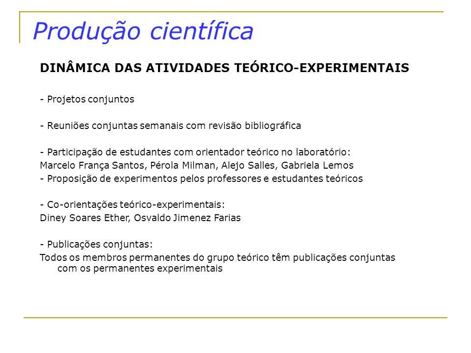 Produção científica DINÂMICA DAS ATIVIDADES TEÓRICO-EXPERIMENTAIS - Projetos conjuntos - Reuniões conjuntas semanais com revisão bibliográfica - Parti