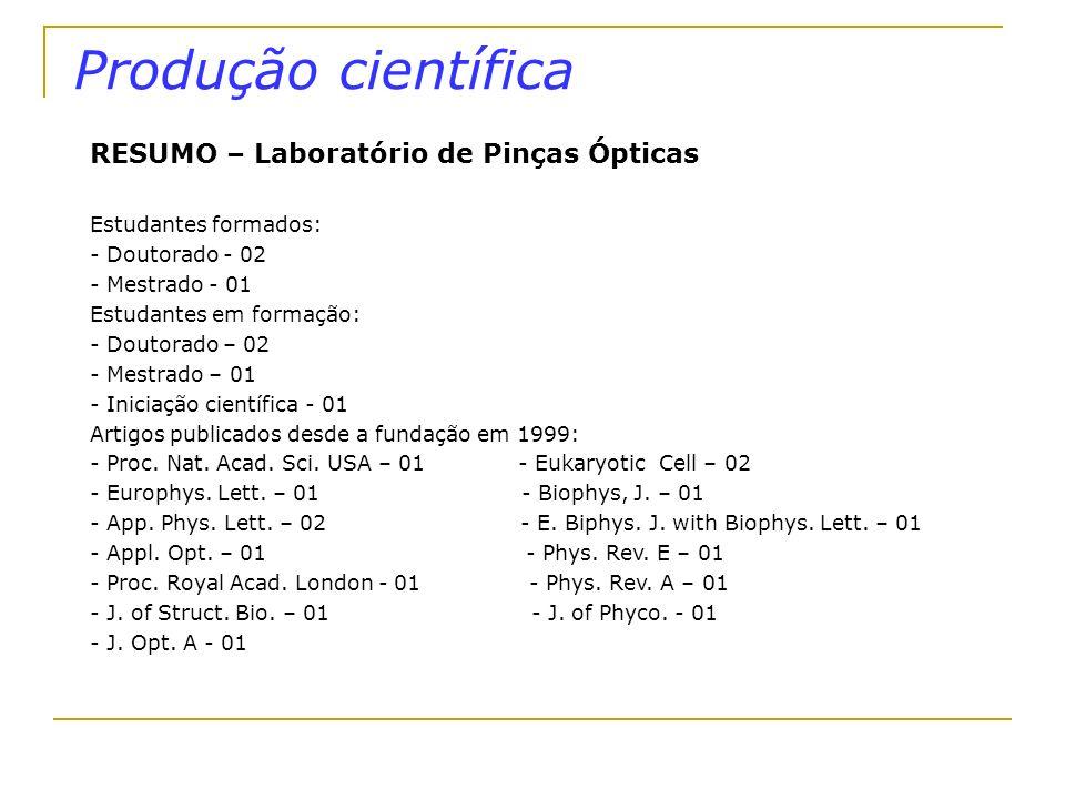 Produção científica RESUMO – Laboratório de Pinças Ópticas Estudantes formados: - Doutorado - 02 - Mestrado - 01 Estudantes em formação: - Doutorado –