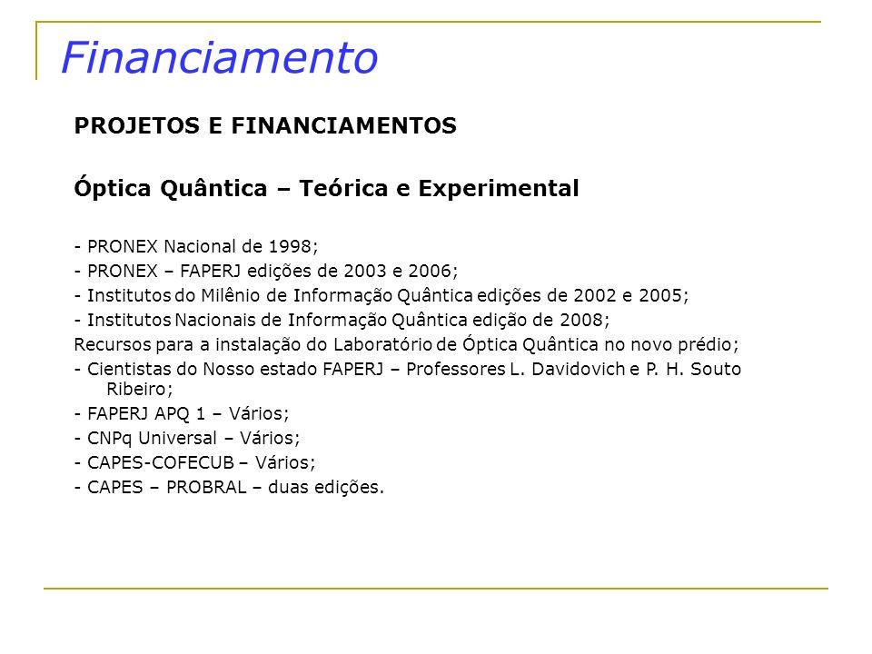 Financiamento PROJETOS E FINANCIAMENTOS Óptica Quântica – Teórica e Experimental - PRONEX Nacional de 1998; - PRONEX – FAPERJ edições de 2003 e 2006;