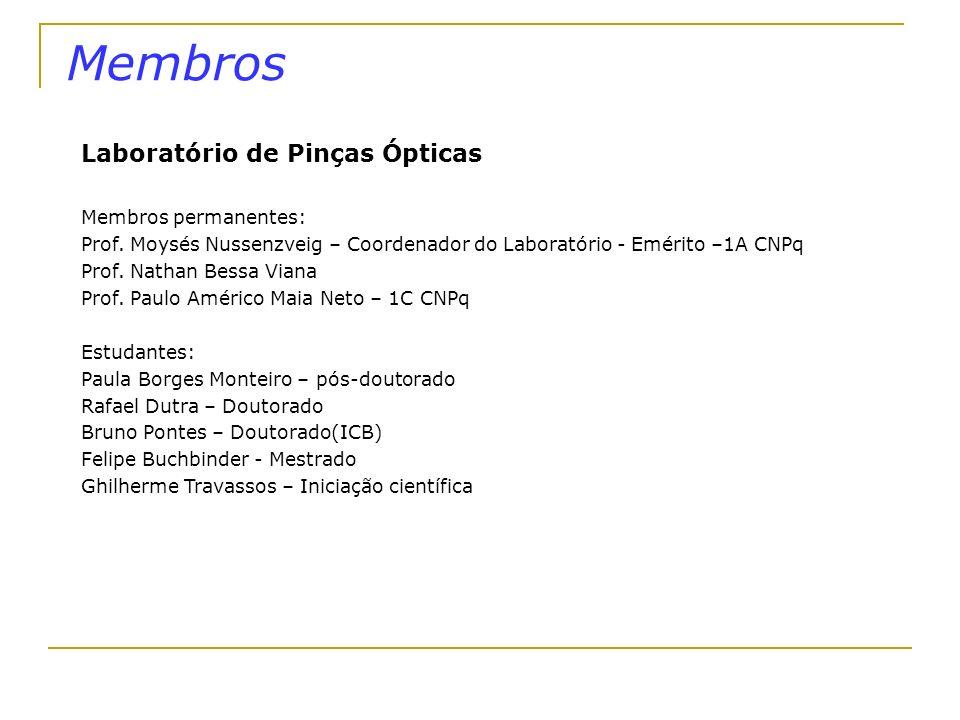 Infra-estrutura Laboratório de Pinças Ópticas - Laser Nd-YAG (1064 nm), potência 3W, modo TEM_00 ; - Elementos óticos e mecânicos: lentes, espelhos, espelhos dicróicos, deslocadores micrométricos; - 2 Mesas óticas com filtro pneumático de vibrações; - 2 Microscópios óticos Eclipse TE300; - Sistema de captura de imagens; - Câmara de controle de temperatura e concentração de CO_2 ; - Sistema de deslocamento motorizado de amostras; - Deslocador nanométrico piezo-elétrico (PI); - Laser de Nitrogênio (UV); - Modulador de fase.