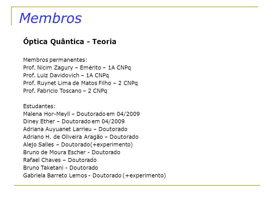 Membros Óptica Quântica - Teoria Membros permanentes: Prof. Nicim Zagury – Emérito – 1A CNPq Prof. Luiz Davidovich – 1A CNPq Prof. Ruynet Lima de Mato