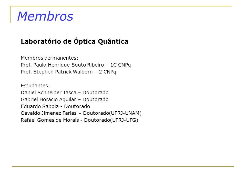 Membros Laboratório de Óptica Quântica Membros permanentes: Prof. Paulo Henrique Souto Ribeiro – 1C CNPq Prof. Stephen Patrick Walborn – 2 CNPq Estuda