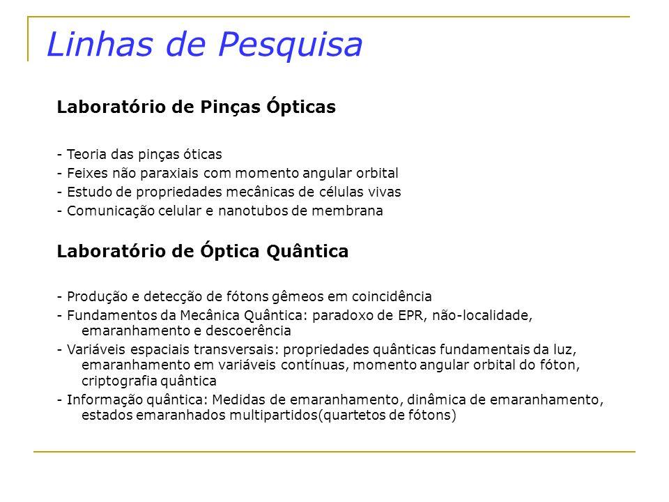 Perspectivas PERSPECTIVAS DE EXPANSÃO PINÇAS ÓPTICAS Docente experimental: Existe um projeto em andamento, para a montagem de uma pinça ótica no IF/UFRJ.