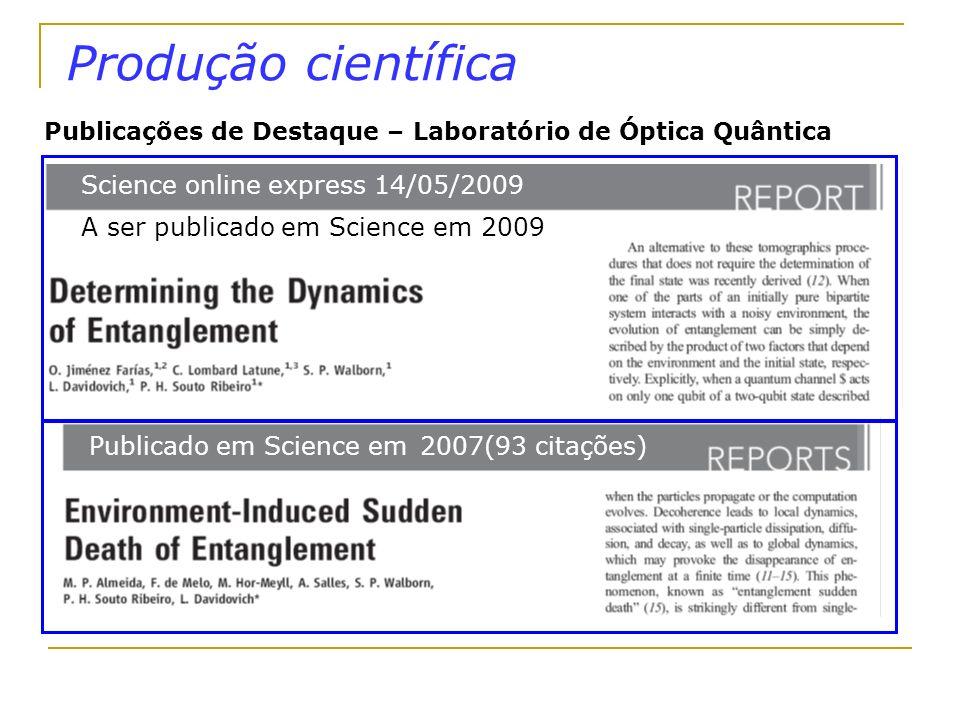 Produção científica Publicado em Science em 2007(93 citações) Publicações de Destaque – Laboratório de Óptica Quântica Science online express 14/05/20