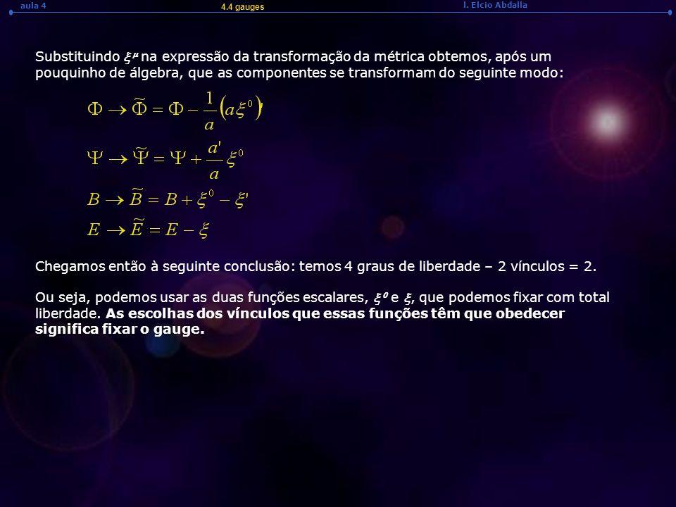 l. Elcio Abdalla aula 4 Substituindo na expressão da transformação da métrica obtemos, após um pouquinho de álgebra, que as componentes se transformam