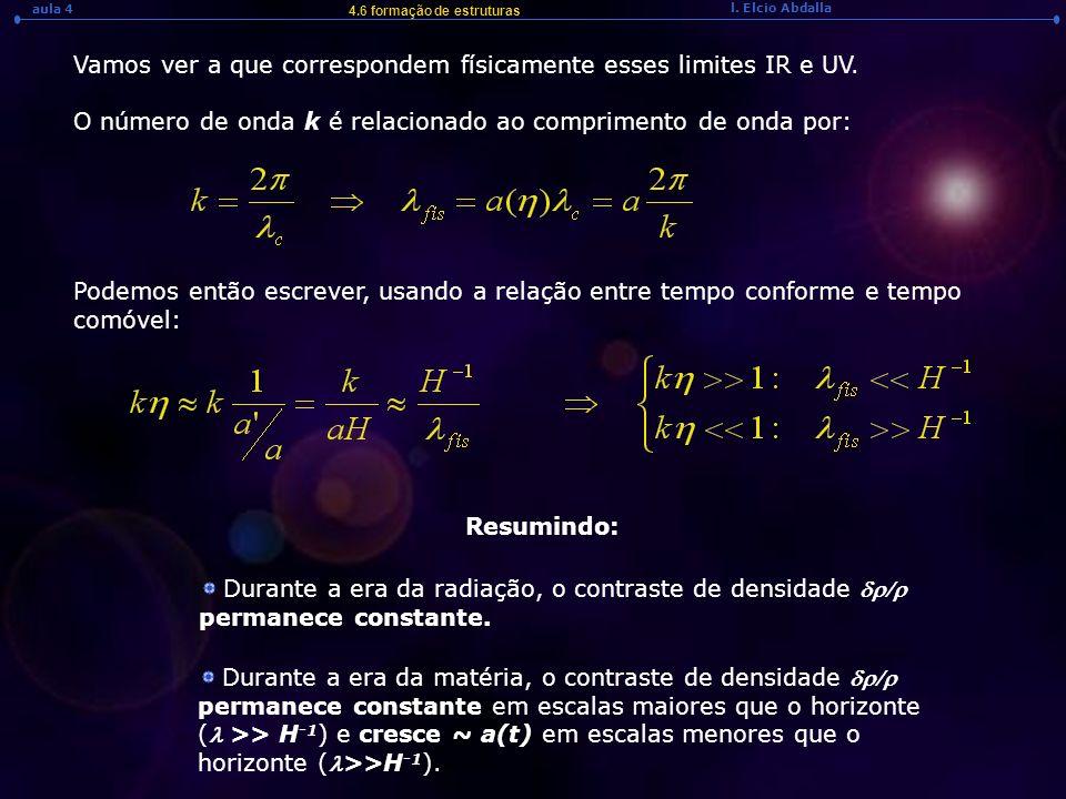 l. Elcio Abdalla aula 4 4.6 formação de estruturas Resumindo: Durante a era da radiação, o contraste de densidade permanece constante. Durante a era d