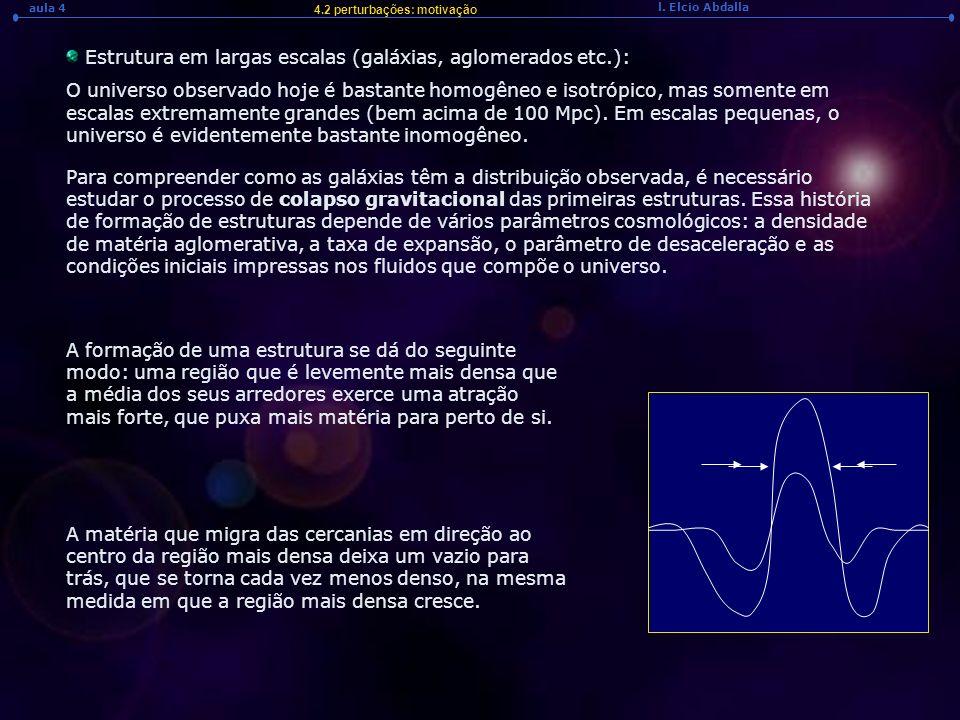 l. Elcio Abdalla aula 4 4.2 perturbações: motivação Estrutura em largas escalas (galáxias, aglomerados etc.): O universo observado hoje é bastante hom