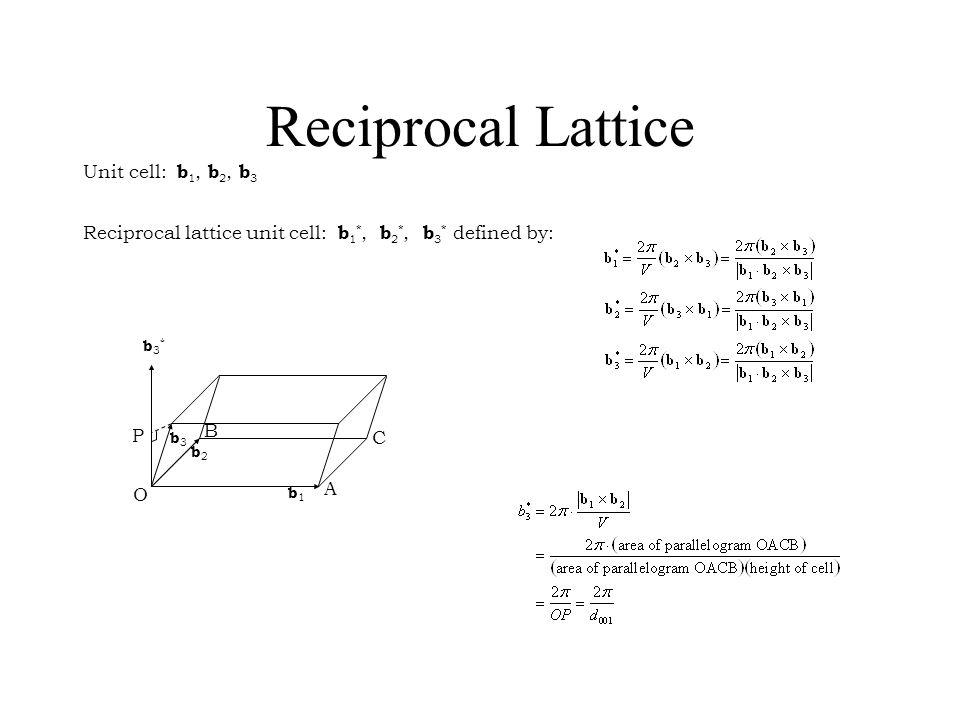 Reciprocal Lattice Unit cell: b 1, b 2, b 3 Reciprocal lattice unit cell: b 1 *, b 2 *, b 3 * defined by: b1b1 b2b2 b3*b3* A B C P O b3b3