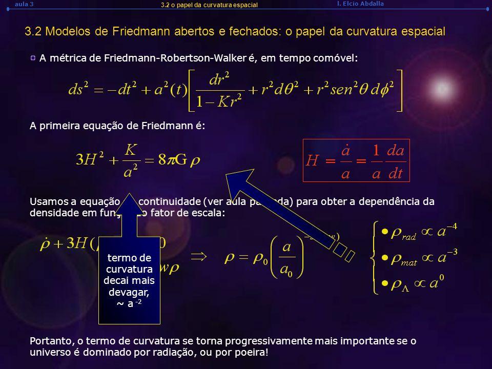 l. Elcio Abdalla aula 3 3.2 o papel da curvatura espacial 3.2 Modelos de Friedmann abertos e fechados: o papel da curvatura espacial A métrica de Frie