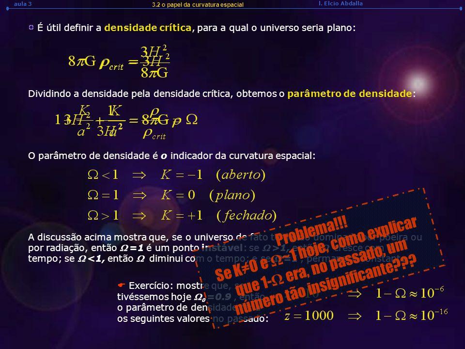 l. Elcio Abdalla aula 3 3.2 o papel da curvatura espacial É útil definir a densidade crítica, para a qual o universo seria plano: Dividindo a densidad