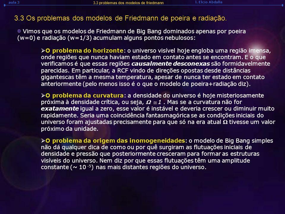l. Elcio Abdalla aula 3 3.3 problemas dos modelos de friedmann 3.3 Os problemas dos modelos de Friedmann de poeira e radiação. Vimos que os modelos de