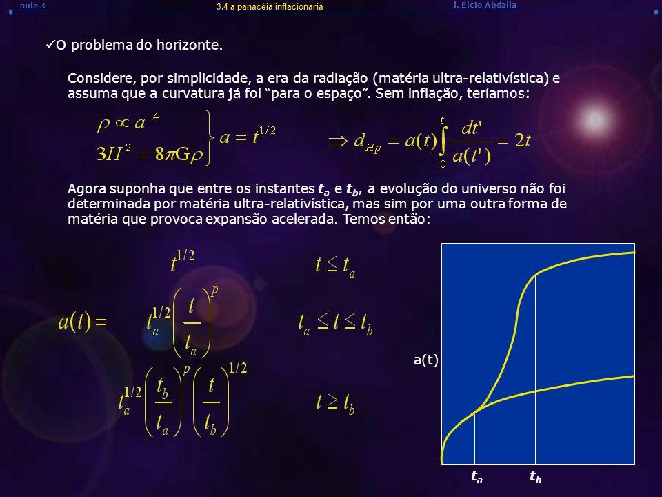 l. Elcio Abdalla aula 3 3.4 a panacéia inflacionária O problema do horizonte. Considere, por simplicidade, a era da radiação (matéria ultra-relativíst