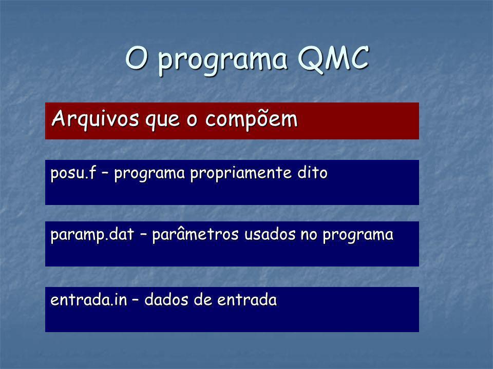 O programa QMC Arquivos que o compõem posu.f – programa propriamente dito paramp.dat – parâmetros usados no programa entrada.in – dados de entrada