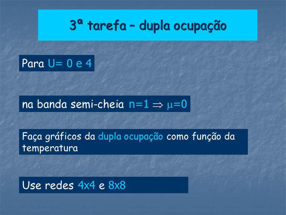 3ª tarefa – dupla ocupação Para U= 0 e 4 Faça gráficos da dupla ocupação como função da temperatura Use redes 4x4 e 8x8 na banda semi-cheia n=1 =0