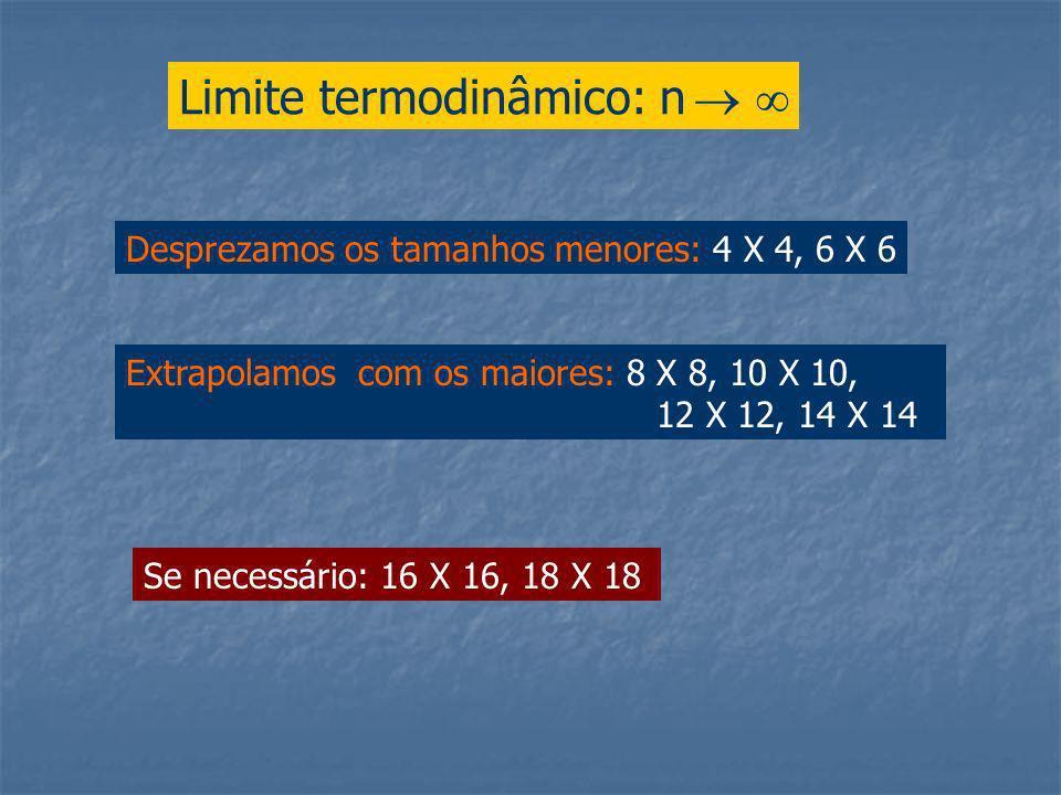 Limite termodinâmico: n Desprezamos os tamanhos menores: 4 X 4, 6 X 6 Extrapolamos com os maiores: 8 X 8, 10 X 10, 12 X 12, 14 X 14 Se necessário: 16 X 16, 18 X 18