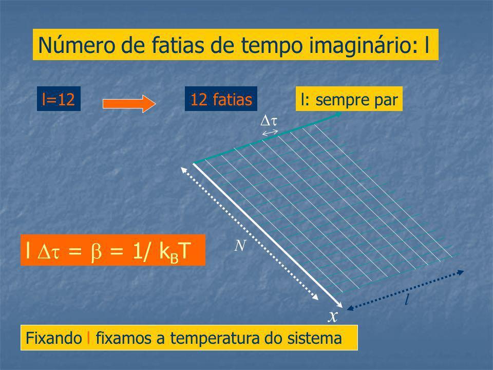 Número de fatias de tempo imaginário: l l=1212 fatias l = = 1/ k B T Fixando l fixamos a temperatura do sistema l: sempre par x N l