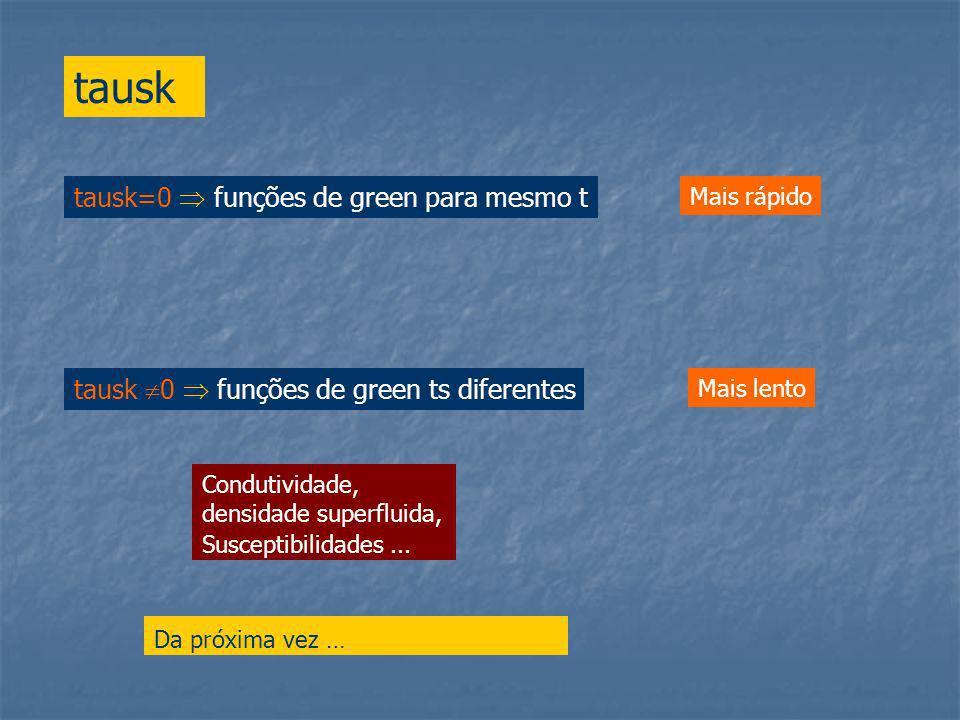 tausk tausk=0 funções de green para mesmo t Mais rápido Mais lento Da próxima vez … Condutividade, densidade superfluida, Susceptibilidades...