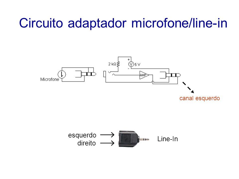 Circuito adaptador microfone/line-in canal esquerdo esquerdo direito Line-In