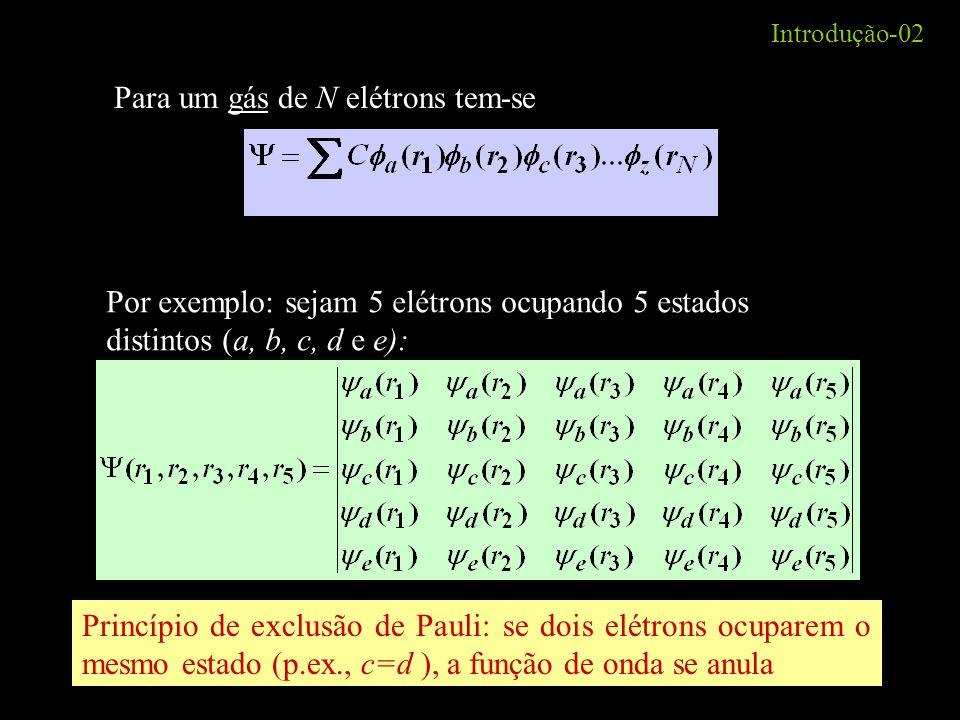 Introdução-02 Para um gás de N elétrons tem-se Por exemplo: sejam 5 elétrons ocupando 5 estados distintos (a, b, c, d e e): Princípio de exclusão de P