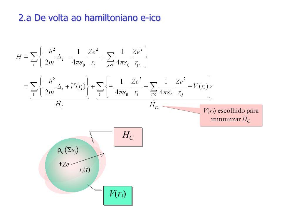 V(r i ) escolhido para minimizar H C 2.a De volta ao hamiltoniano e-ico ri(t)ri(t) + Ze ρ el ( e j ) V(ri)V(ri) V(ri)V(ri) HCHC HCHC