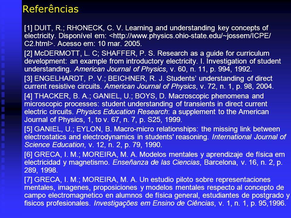 Referências [1] DUIT, R.; RHONECK, C. V. Learning and understanding key concepts of electricity. Disponível em:. Acesso em: 10 mar. 2005. [2] McDERMOT