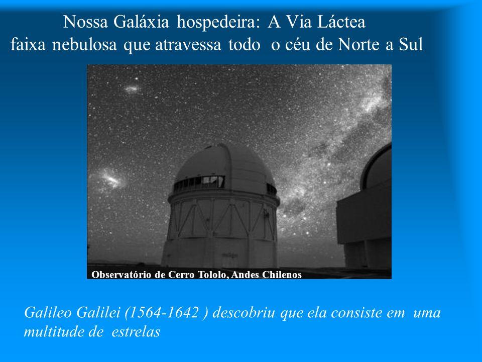 Nossa Galáxia hospedeira: A Via Láctea faixa nebulosa que atravessa todo o céu de Norte a Sul Observatório de Cerro Tololo, Andes Chilenos Galileo Gal