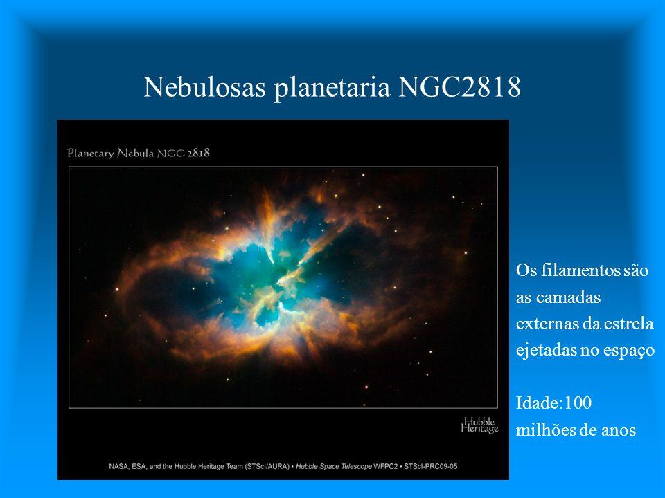 Nebulosas planetaria NGC2818 Os filamentos são as camadas externas da estrela ejetadas no espaço Idade:100 milhões de anos