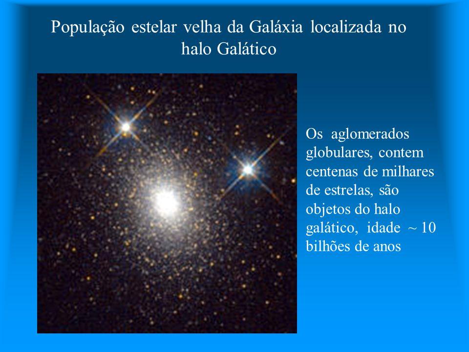 População estelar velha da Galáxia localizada no halo Galático Os aglomerados globulares, contem centenas de milhares de estrelas, são objetos do halo