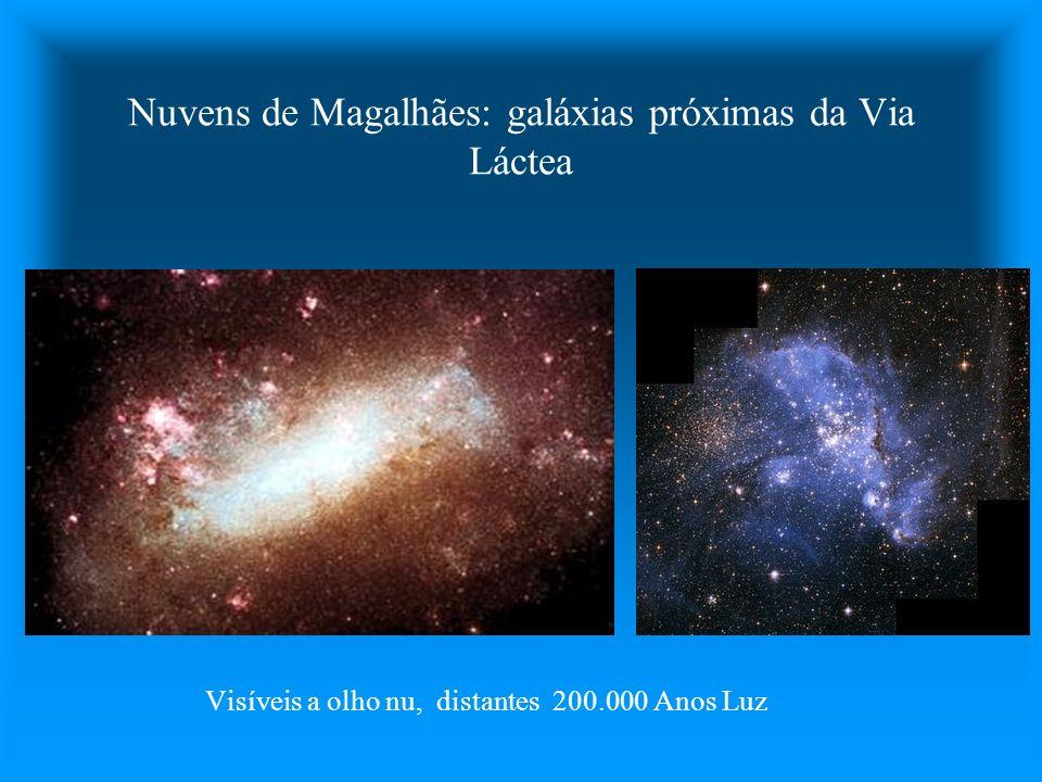 Nuvens de Magalhães: galáxias próximas da Via Láctea Visíveis a olho nu, distantes 200.000 Anos Luz