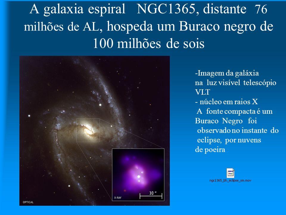A galaxia espiral NGC1365, distante 76 milhões de AL, hospeda um Buraco negro de 100 milhões de sois -Imagem da galáxia na luz visível telescópio VLT