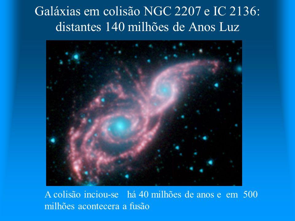 Galáxias em colisão NGC 2207 e IC 2136: distantes 140 milhões de Anos Luz A colisão inciou-se há 40 milhões de anos e em 500 milhões acontecera a fusã