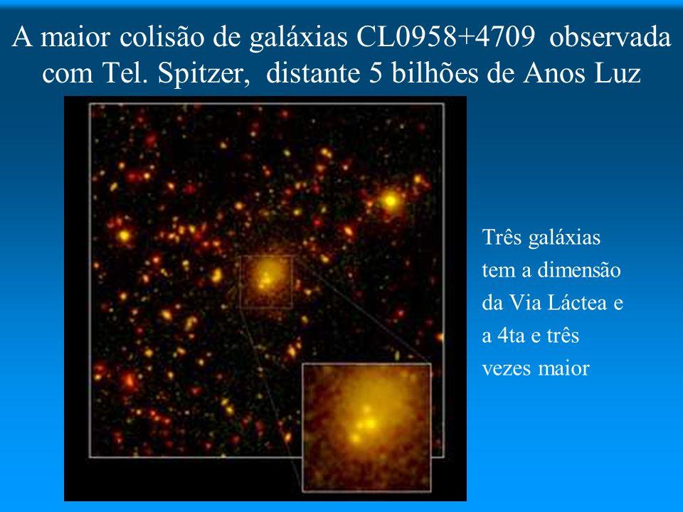 A maior colisão de galáxias CL0958+4709 observada com Tel. Spitzer, distante 5 bilhões de Anos Luz Três galáxias tem a dimensão da Via Láctea e a 4ta
