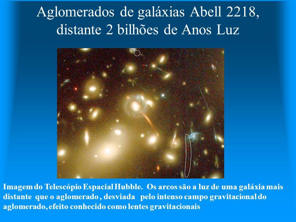 Aglomerados de galáxias Abell 2218, distante 2 bilhões de Anos Luz Imagem do Telescópio Espacial Hubble. Os arcos são a luz de uma galáxia mais distan