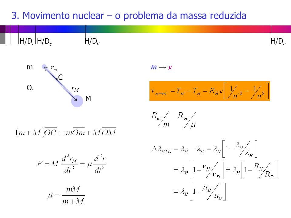 3. Movimento nuclear – o problema da massa reduzida m r m.C O. r M M m m H/D H/D H/D H/D