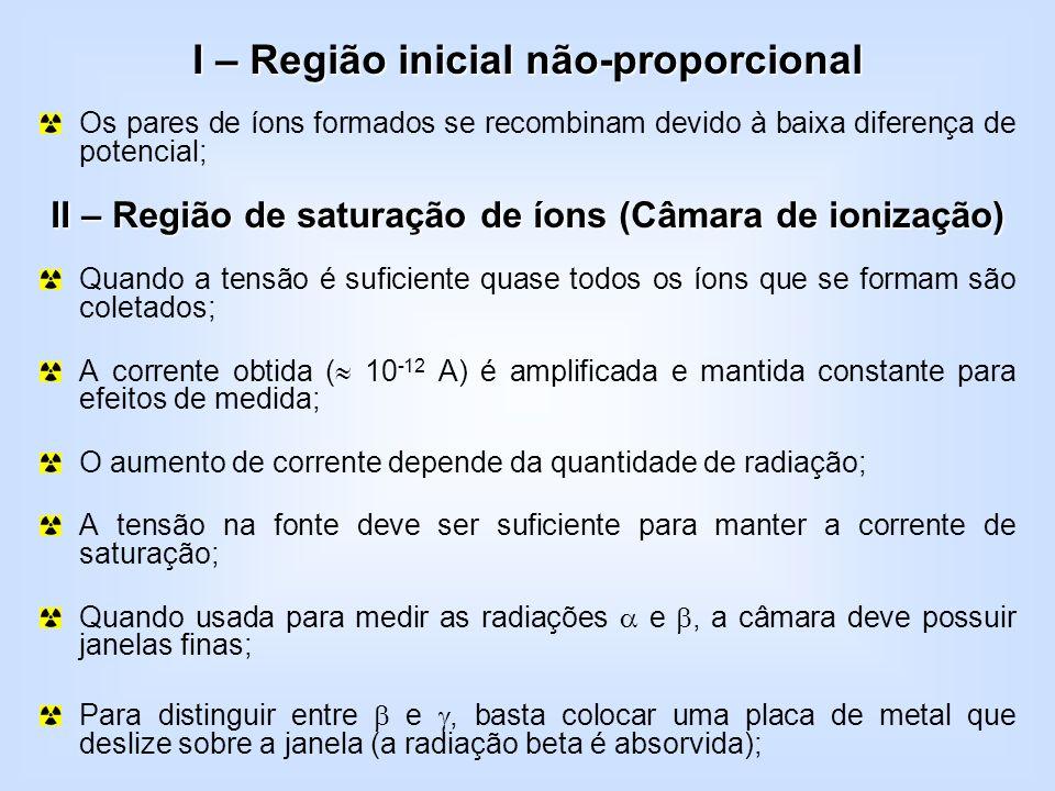 I – Região inicial não-proporcional Os pares de íons formados se recombinam devido à baixa diferença de potencial; II – Região de saturação de íons (C