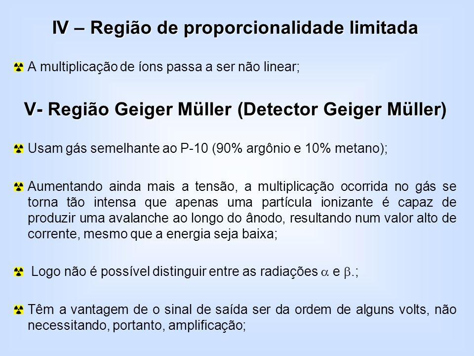 IV – Região de proporcionalidade limitada A multiplicação de íons passa a ser não linear; V- Região Geiger Müller (Detector Geiger Müller V- Região Ge