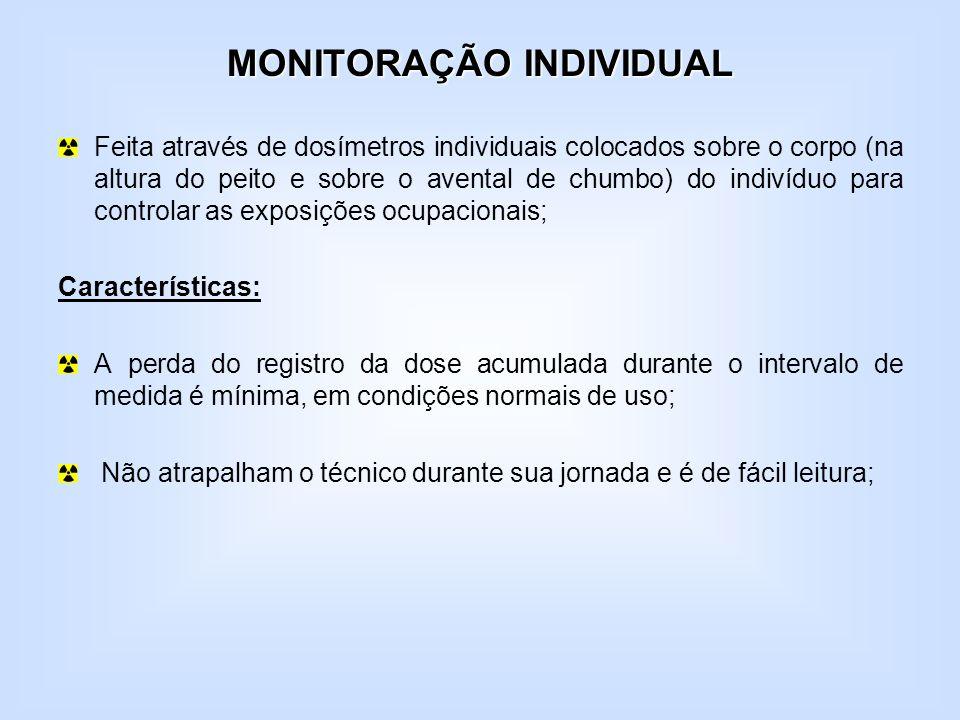 MONITORAÇÃO INDIVIDUAL Feita através de dosímetros individuais colocados sobre o corpo (na altura do peito e sobre o avental de chumbo) do indivíduo p