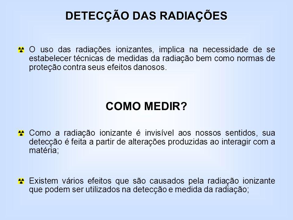 DETECÇÃO DAS RADIAÇÕES O uso das radiações ionizantes, implica na necessidade de se estabelecer técnicas de medidas da radiação bem como normas de pro