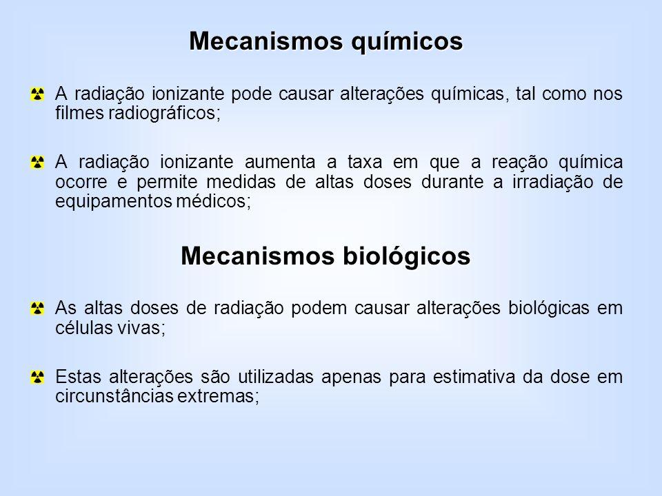 Mecanismos químicos A radiação ionizante pode causar alterações químicas, tal como nos filmes radiográficos; A radiação ionizante aumenta a taxa em qu