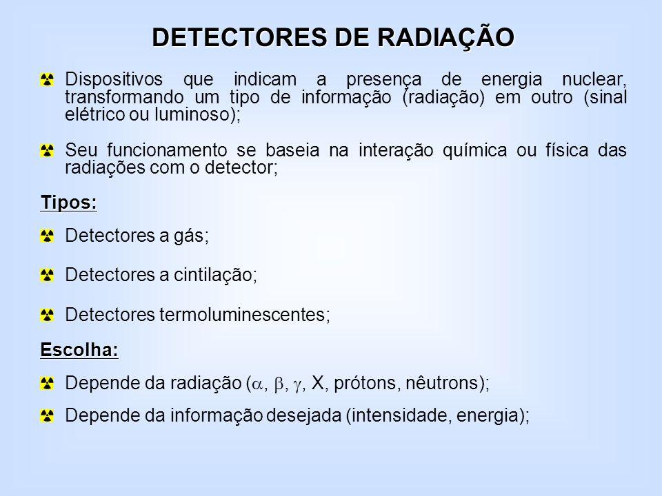 DETECTORES DE RADIAÇÃO Dispositivos que indicam a presença de energia nuclear, transformando um tipo de informação (radiação) em outro (sinal elétrico