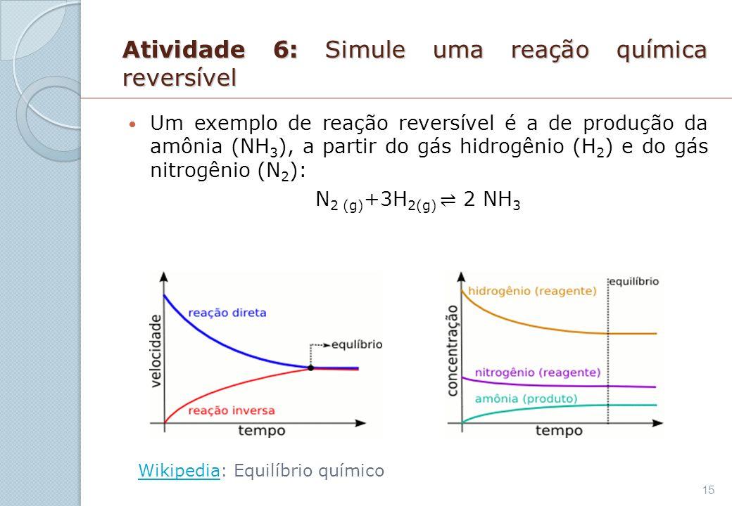 Atividade 6: Simule uma reação química reversível Um exemplo de reação reversível é a de produção da amônia (NH 3 ), a partir do gás hidrogênio (H 2 )