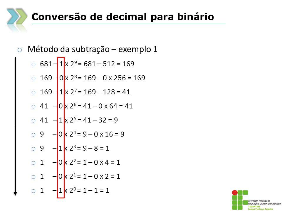 Conversão de decimal para binário o Método da subtração – exemplo 2 o 680 – 1 x 2 9 = 680 – 512 = 168 o 168 – 0 x 2 8 = 168 – 0 x 256 = 168 o 168 – 1 x 2 7 = 168 – 128 = 40 o 40 – 0 x 2 6 = 40 – 0 x 64 = 40 o 40 – 1 x 2 5 = 40 – 32 = 8 o 8 – 0 x 2 4 = 8 – 0 x 16 = 8 o 8 – 1 x 2 3 = 8 – 8 = 0 o 0