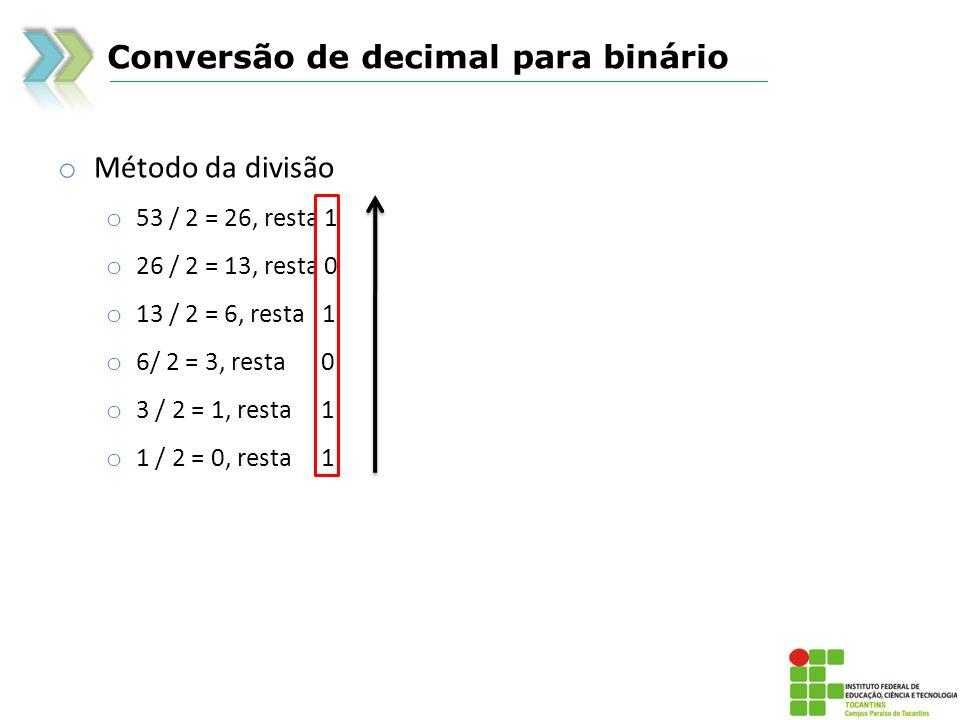 Conversão de decimal para binário o Método da divisão o 53 / 2 = 26, resta 1 o 26 / 2 = 13, resta 0 o 13 / 2 = 6, resta 1 o 6/ 2 = 3, resta 0 o 3 / 2