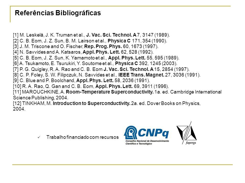 Referências Bibliográficas Trabalho financiado com recursos [1] M. Leskelä, J. K. Truman et al., J. Vac. Sci. Technol. A 7, 3147 (1989). [2] C. B. Eom